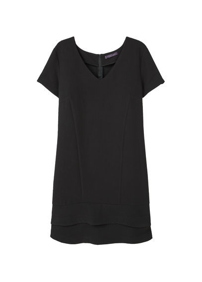 Textured Dress - style: shift; neckline: v-neck; pattern: plain; predominant colour: black; occasions: evening; length: on the knee; fit: body skimming; fibres: polyester/polyamide - 100%; sleeve length: short sleeve; sleeve style: standard; texture group: crepes; pattern type: fabric; season: a/w 2016; wardrobe: event