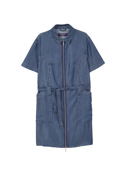 Soft Denim Dress - style: shirt; neckline: shirt collar/peter pan/zip with opening; pattern: plain; waist detail: belted waist/tie at waist/drawstring; predominant colour: navy; occasions: casual; length: just above the knee; fit: body skimming; fibres: viscose/rayon - 100%; sleeve length: short sleeve; sleeve style: standard; texture group: denim; pattern type: fabric; wardrobe: basic; season: a/w 2016
