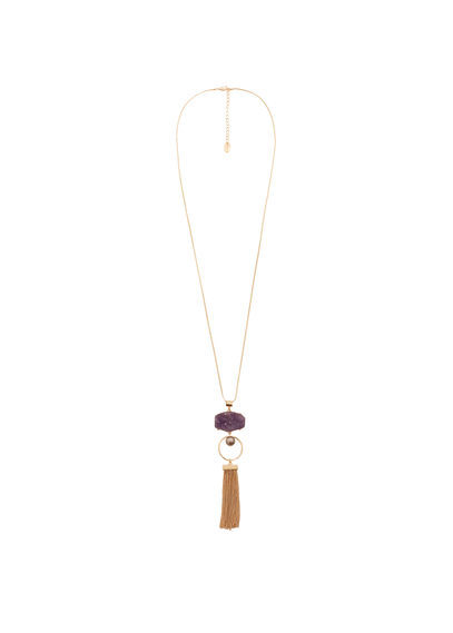 Semiprecious Stone Necklace - predominant colour: gold; style: pendant; length: long; size: standard; material: chain/metal; occasions: holiday, creative work; finish: plain; embellishment: jewels/stone; wardrobe: basic; season: a/w 2016