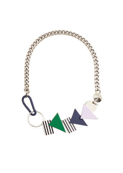 Geometric Embellishment Necklace - predominant colour: gold; occasions: evening, occasion; length: mid; size: large/oversized; material: chain/metal; finish: plain; embellishment: jewels/stone; style: bib/statement; multicoloured: multicoloured; season: a/w 2016