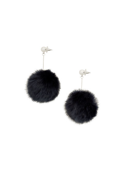 Pompom Earrings - secondary colour: silver; predominant colour: black; occasions: casual, evening, creative work; style: drop; length: mid; size: standard; material: chain/metal; fastening: pierced; finish: plain; embellishment: fur; season: a/w 2016; wardrobe: highlight
