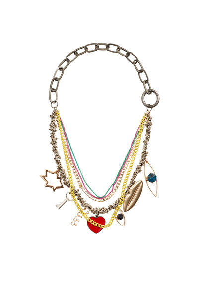 Mixed Chain Necklace - predominant colour: gold; occasions: evening, creative work; style: multistrand; length: mid; size: large/oversized; material: chain/metal; finish: metallic; embellishment: chain/metal; season: a/w 2016; wardrobe: highlight