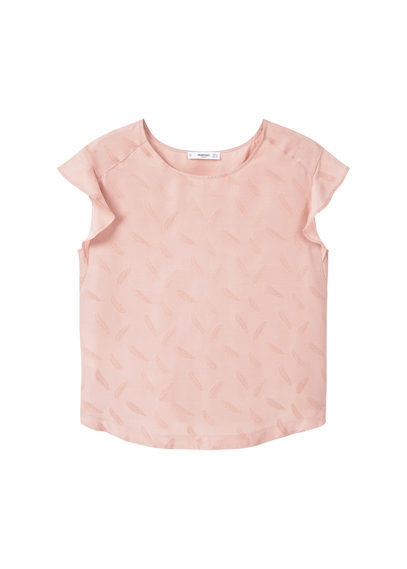 Ruffled Top - sleeve style: capped; pattern: plain; style: t-shirt; predominant colour: blush; occasions: casual; length: standard; fibres: cotton - mix; fit: body skimming; neckline: crew; sleeve length: short sleeve; pattern type: fabric; texture group: other - light to midweight; wardrobe: basic; season: a/w 2016