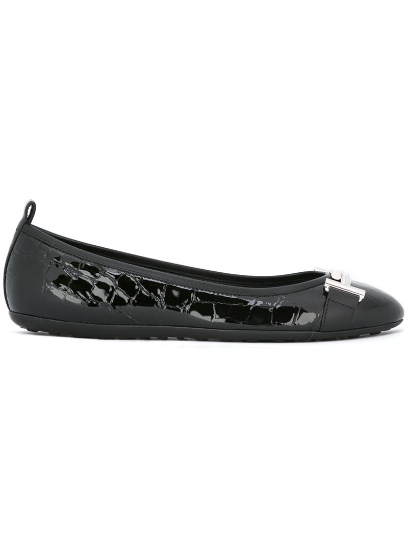 Crocodile Effect Ballerinas, Women's, Black - predominant colour: black; occasions: casual; material: leather; heel height: flat; toe: round toe; style: ballerinas / pumps; finish: patent; pattern: plain; wardrobe: basic; season: a/w 2016