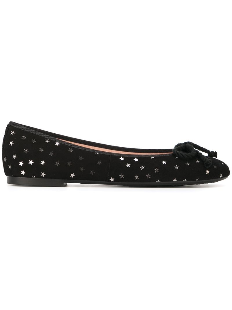 Star Print Ballerinas, Women's, Black - predominant colour: black; occasions: casual; material: suede; heel height: flat; embellishment: sequins; toe: round toe; style: ballerinas / pumps; finish: plain; pattern: plain; wardrobe: basic; season: a/w 2016