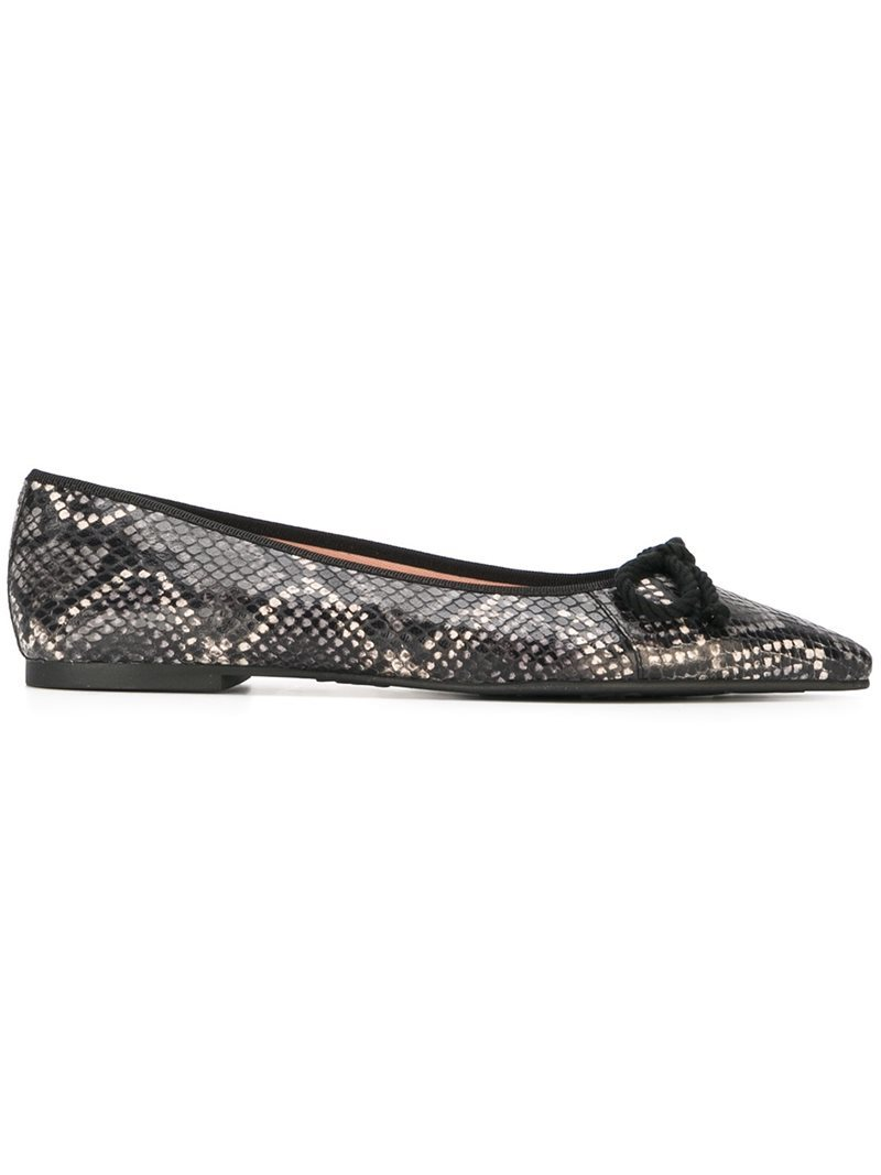 Snakeskin Effect Ballerinas, Women's, Black - predominant colour: black; occasions: casual, work, creative work; material: leather; heel height: flat; toe: pointed toe; style: ballerinas / pumps; finish: plain; pattern: animal print; season: a/w 2016; wardrobe: highlight
