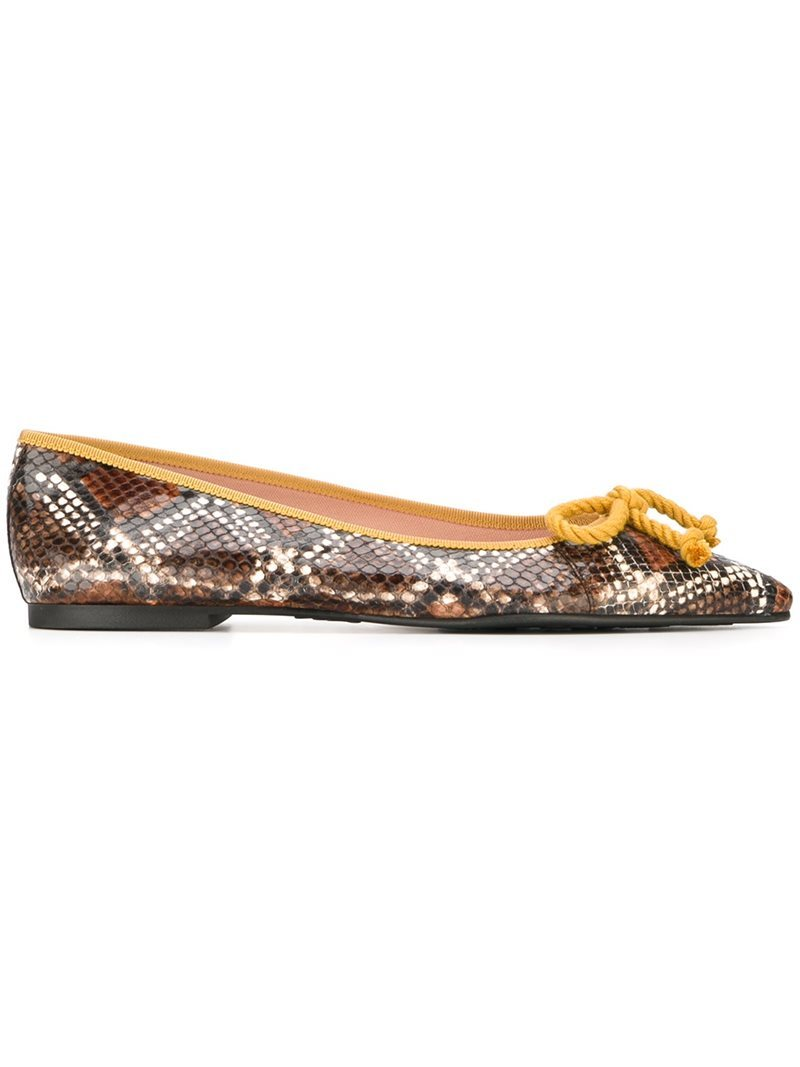 'ella' Ballerinas, Women's - predominant colour: chocolate brown; occasions: casual, creative work; material: leather; heel height: flat; toe: pointed toe; style: ballerinas / pumps; finish: plain; pattern: animal print; season: a/w 2016; wardrobe: highlight
