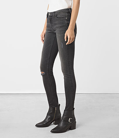 Mast Damaged Jeans - style: skinny leg; length: standard; pattern: plain; waist: high rise; pocket detail: traditional 5 pocket; predominant colour: charcoal; occasions: casual; fibres: cotton - stretch; texture group: denim; pattern type: fabric; jeans detail: rips; season: a/w 2016; wardrobe: highlight