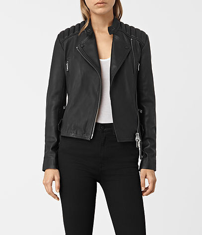 Kerr Leather Biker Jacket - pattern: plain; style: biker; collar: asymmetric biker; fit: slim fit; predominant colour: black; occasions: casual; length: standard; fibres: leather - 100%; sleeve length: long sleeve; sleeve style: standard; texture group: leather; collar break: medium; pattern type: fabric; wardrobe: basic; season: a/w 2016
