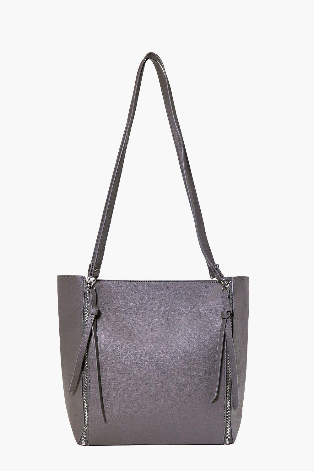 Zip Side Day Bag Grey - predominant colour: mid grey; occasions: casual, creative work; type of pattern: standard; style: tote; length: shoulder (tucks under arm); size: standard; material: leather; pattern: plain; finish: plain; wardrobe: investment; season: a/w 2016