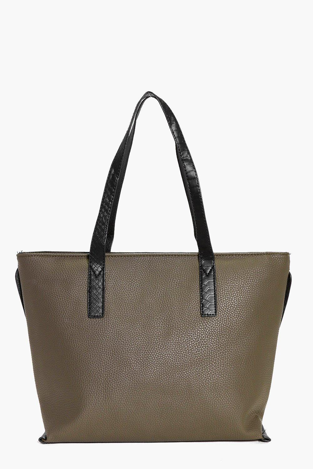 Contrast Handle Shopper Day Bag Khaki - predominant colour: khaki; secondary colour: black; occasions: casual, creative work; type of pattern: standard; style: tote; length: handle; size: oversized; material: faux leather; pattern: plain; finish: plain; wardrobe: investment; season: a/w 2016