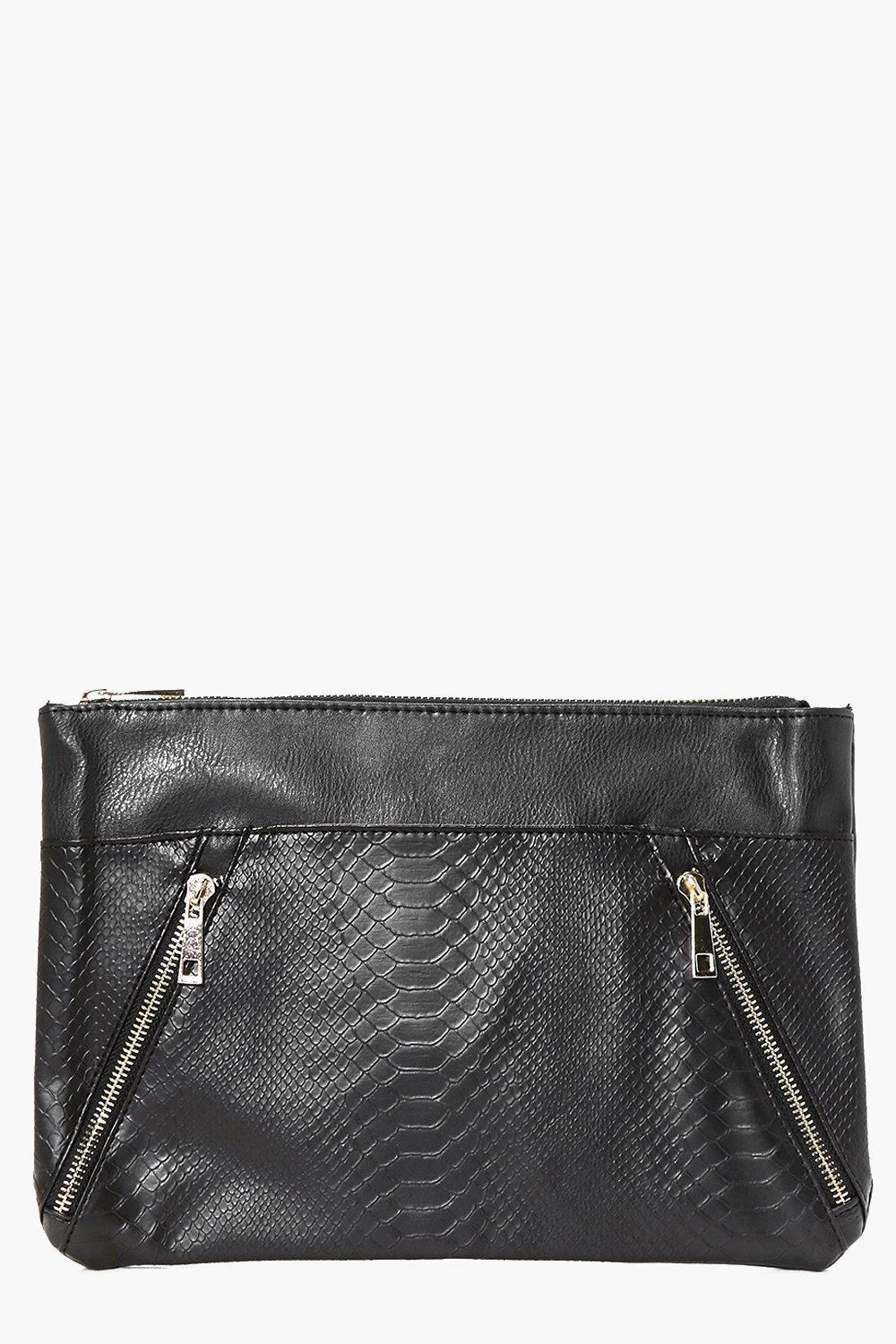 Zip Detail Contrast Panel Clutch Bag Black - predominant colour: black; occasions: evening; type of pattern: standard; style: clutch; length: handle; size: standard; material: leather; embellishment: zips; pattern: plain; finish: plain; season: a/w 2016; wardrobe: event