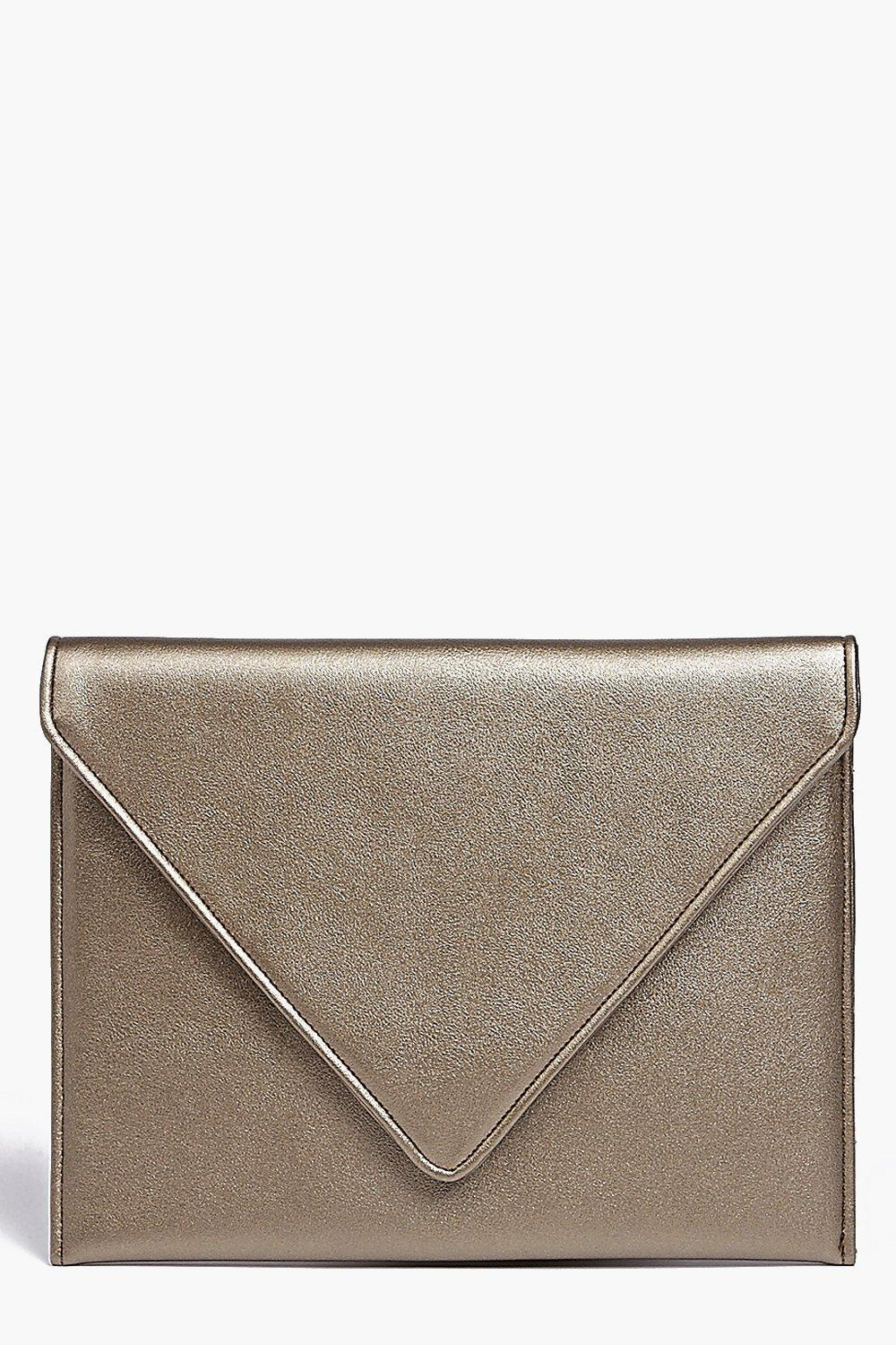 Fold Over Clutch Bag Gold - predominant colour: gold; occasions: evening; type of pattern: standard; style: clutch; length: hand carry; size: small; material: faux leather; pattern: plain; finish: metallic; season: a/w 2016