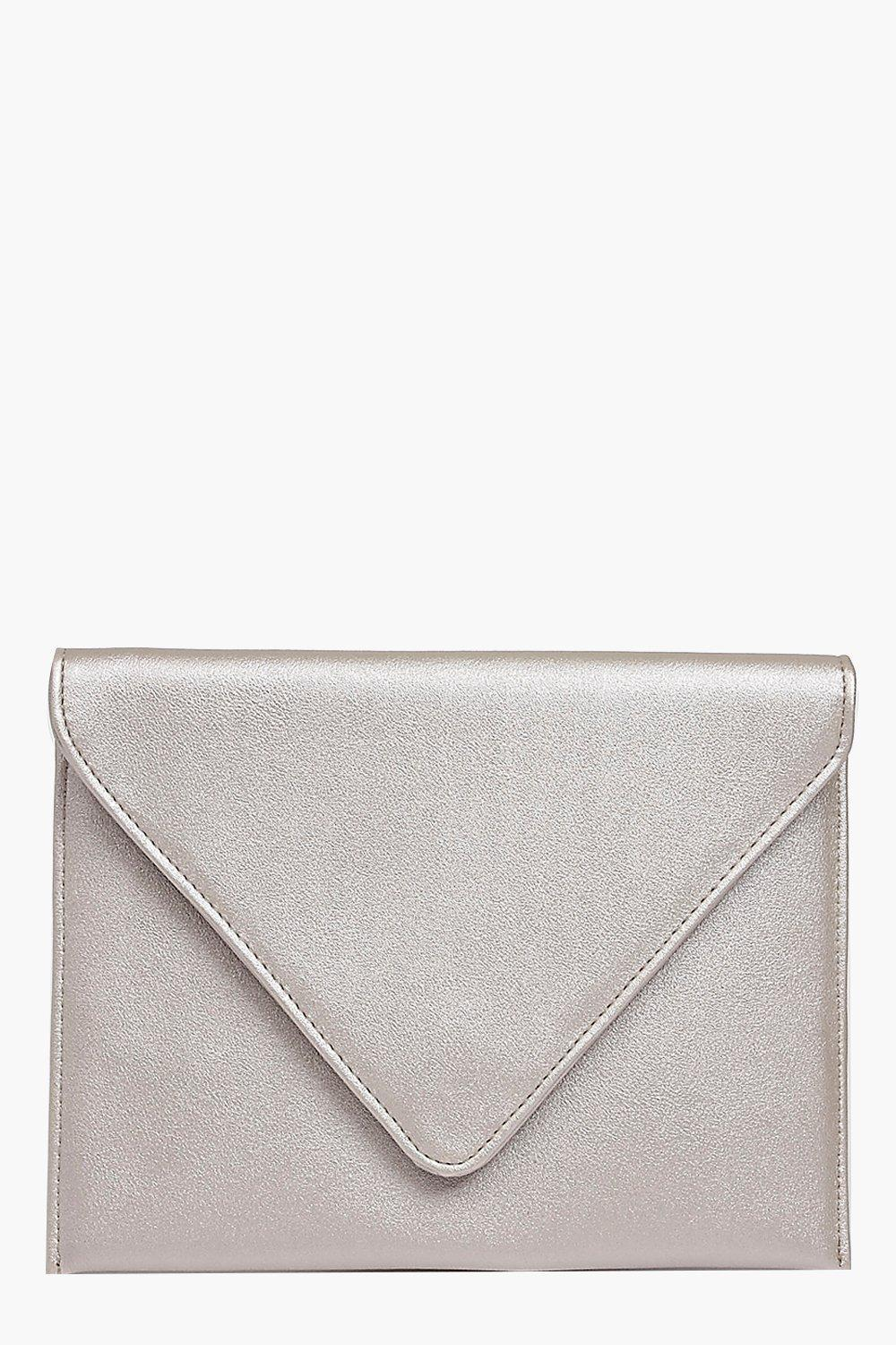 Fold Over Clutch Bag Silver - predominant colour: silver; occasions: evening; type of pattern: standard; style: clutch; length: hand carry; size: standard; material: faux leather; pattern: plain; finish: metallic; season: a/w 2016; wardrobe: event