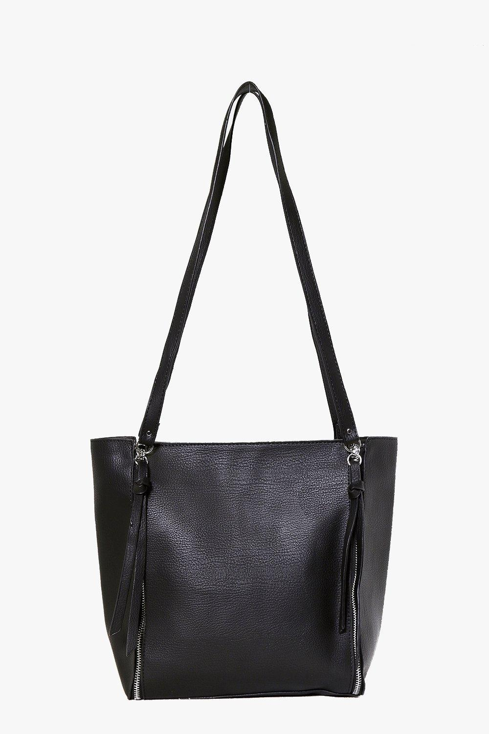 Zip Side Day Bag Black - predominant colour: black; occasions: casual, creative work; type of pattern: standard; style: shoulder; length: shoulder (tucks under arm); size: standard; material: faux leather; pattern: plain; finish: plain; wardrobe: investment; season: a/w 2016