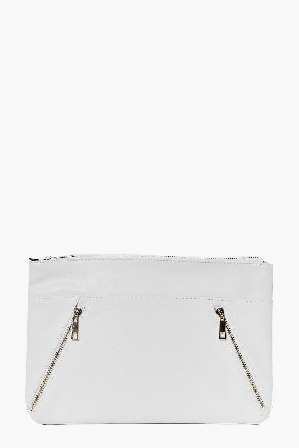 Zip Detail Contrast Panel Clutch Bag White - predominant colour: white; occasions: evening; type of pattern: standard; style: clutch; length: hand carry; size: standard; material: faux leather; pattern: plain; finish: plain; season: a/w 2016; wardrobe: event