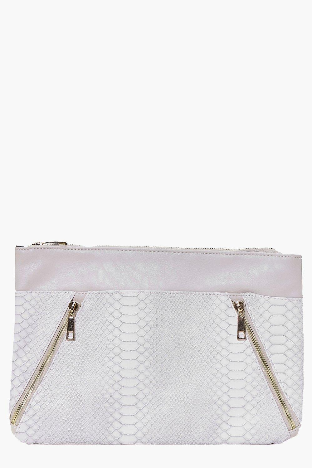 Zip Detail Contrast Panel Clutch Bag Grey - predominant colour: white; occasions: evening; type of pattern: standard; style: clutch; length: hand carry; size: standard; material: faux leather; pattern: plain; finish: plain; season: a/w 2016; wardrobe: event
