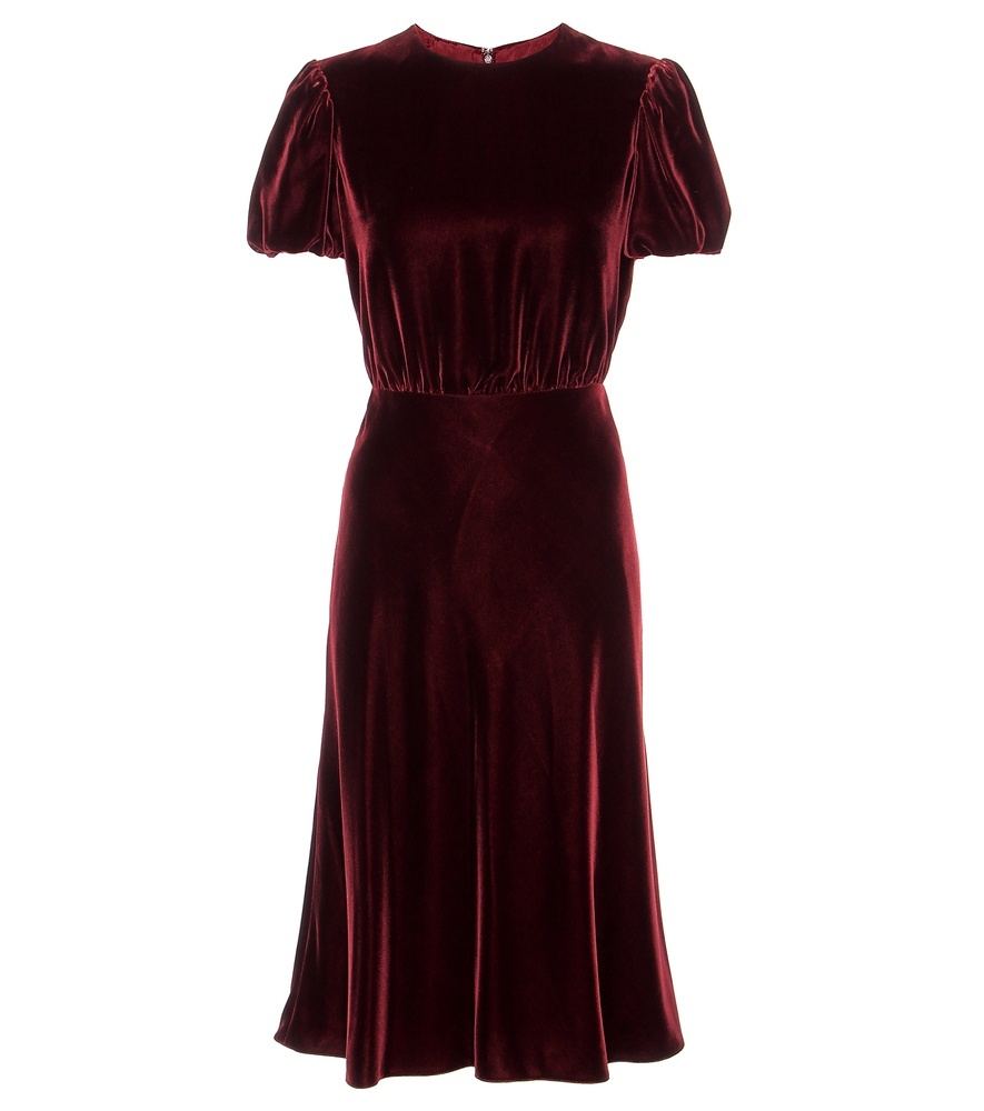 Velvet Dress - length: calf length; pattern: plain; predominant colour: burgundy; occasions: evening; fit: fitted at waist & bust; style: fit & flare; neckline: crew; hip detail: subtle/flattering hip detail; sleeve length: short sleeve; sleeve style: standard; pattern type: fabric; texture group: velvet/fabrics with pile; fibres: viscose/rayon - mix; season: a/w 2016; wardrobe: event