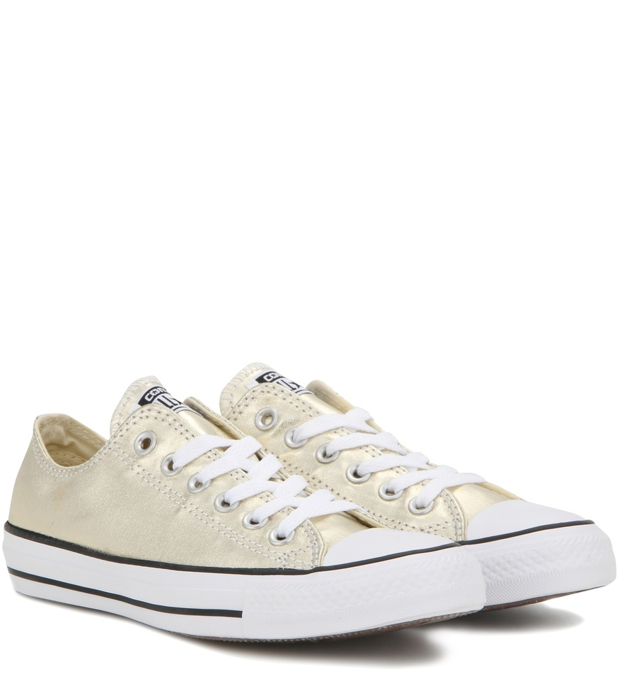 Chuck Taylor All Star Ox Metallic Leather Sneakers - predominant colour: gold; occasions: casual; material: fabric; heel height: flat; toe: round toe; style: trainers; finish: plain; pattern: plain; shoe detail: moulded soul; season: a/w 2016; wardrobe: highlight
