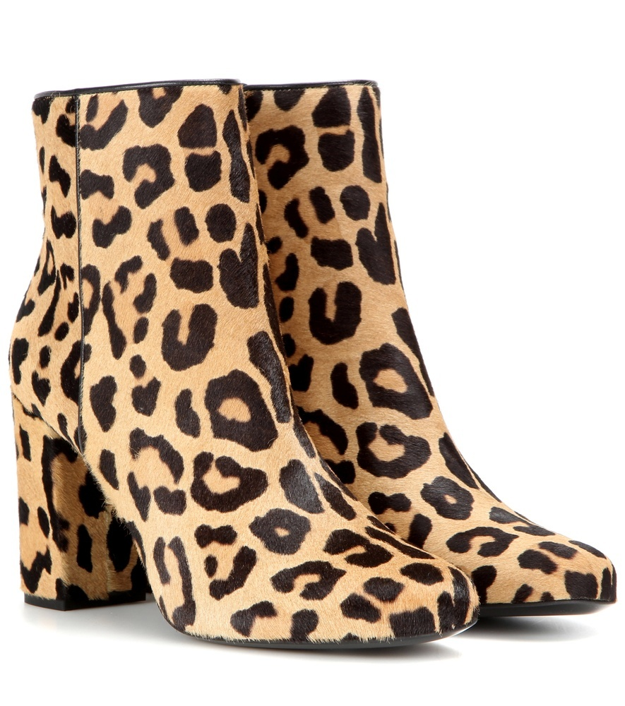 Babies 90 Printed Calf Hair Ankle Boots - predominant colour: camel; secondary colour: black; occasions: casual; material: animal skin; heel height: high; heel: block; toe: round toe; boot length: ankle boot; style: standard; finish: plain; pattern: animal print; multicoloured: multicoloured; season: a/w 2016; wardrobe: highlight