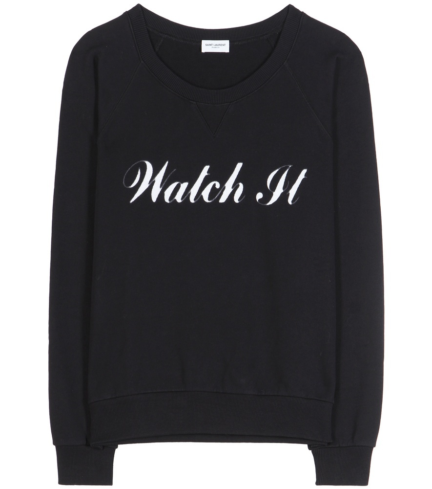 Printed Cotton Sweatshirt - style: sweat top; secondary colour: white; predominant colour: black; occasions: casual; length: standard; fibres: cotton - 100%; fit: loose; neckline: crew; sleeve length: long sleeve; sleeve style: standard; pattern type: fabric; texture group: jersey - stretchy/drapey; pattern: graphic/slogan; multicoloured: multicoloured; season: a/w 2016; wardrobe: highlight