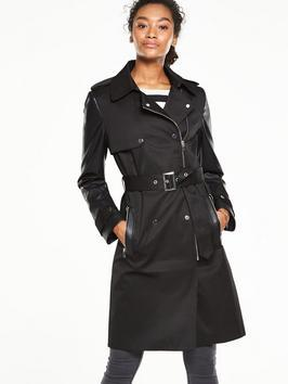 Belted Biker Trench Coat With Leather Look Trims - pattern: plain; style: trench coat; collar: standard lapel/rever collar; length: mid thigh; predominant colour: black; occasions: casual, creative work; fit: tailored/fitted; fibres: cotton - mix; waist detail: belted waist/tie at waist/drawstring; sleeve length: long sleeve; sleeve style: standard; collar break: medium; pattern type: fabric; texture group: other - light to midweight; wardrobe: basic; season: a/w 2016