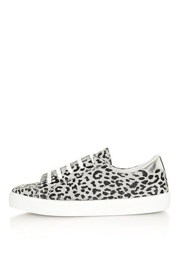 Cheat Leopard Lace Up Trainers - predominant colour: mid grey; secondary colour: black; occasions: casual, creative work; material: leather; heel height: flat; toe: round toe; style: trainers; finish: plain; pattern: animal print; trends: chic girl, fashion girl, tomboy girl; season: a/w 2016; wardrobe: highlight