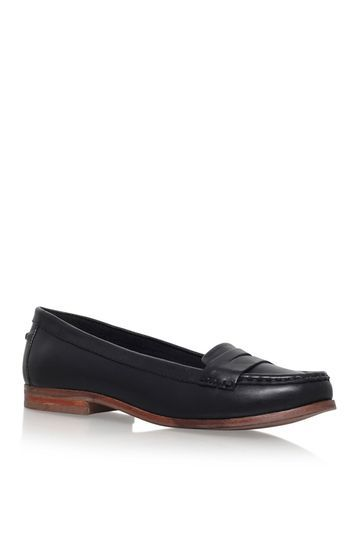 Mallori Navy Low Heel Slip On Loafers By Miss Kg - predominant colour: black; occasions: work, creative work; material: leather; heel height: flat; toe: round toe; style: loafers; finish: plain; pattern: plain; wardrobe: basic; season: a/w 2016