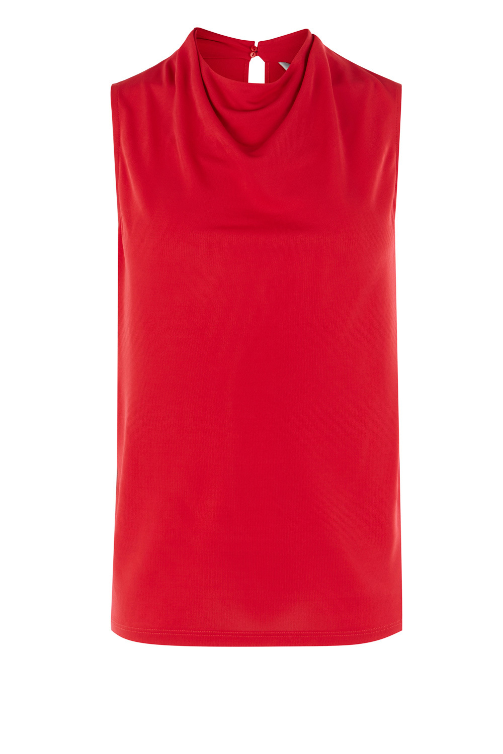 Evita Cowl Neck Top - neckline: v-neck; pattern: plain; sleeve style: sleeveless; predominant colour: true red; occasions: casual, creative work; length: standard; style: top; fibres: polyester/polyamide - 100%; fit: straight cut; sleeve length: sleeveless; pattern type: fabric; texture group: jersey - stretchy/drapey; season: a/w 2016; wardrobe: highlight