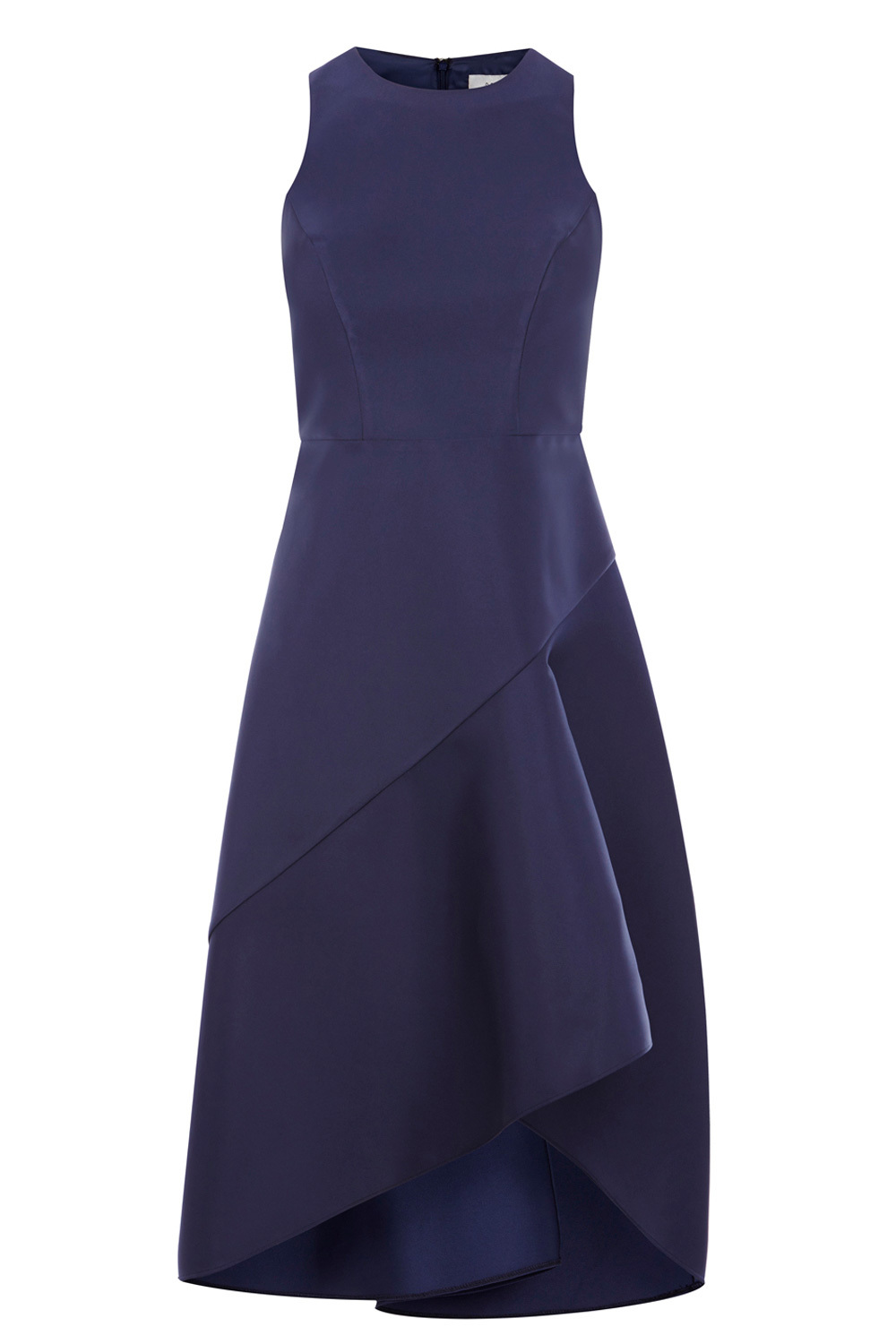 Cara Satin Midi Dress - pattern: plain; sleeve style: sleeveless; style: full skirt; predominant colour: navy; occasions: evening; length: just above the knee; fit: fitted at waist & bust; fibres: polyester/polyamide - stretch; neckline: crew; sleeve length: sleeveless; pattern type: fabric; texture group: jersey - stretchy/drapey; season: a/w 2016; wardrobe: event