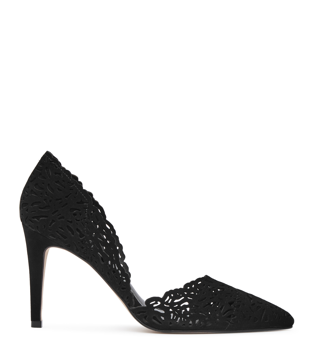 Dayton Womens Laser Cut Court Shoes In Black - predominant colour: black; occasions: evening, occasion, creative work; material: suede; heel height: high; heel: stiletto; toe: pointed toe; style: courts; finish: plain; pattern: plain; wardrobe: investment; season: a/w 2016