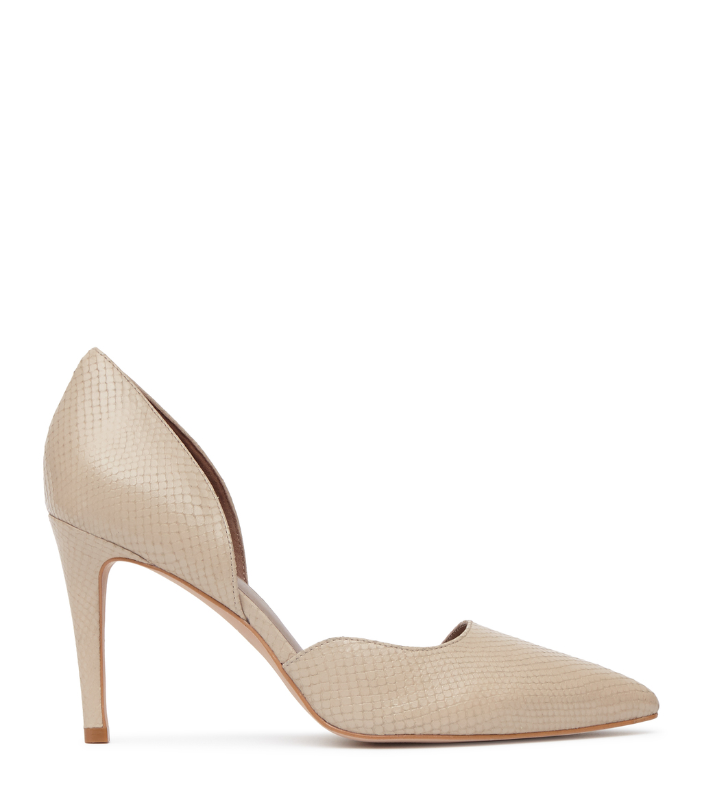 Lawrence Womens Snake Effect Court Shoes In White - predominant colour: ivory/cream; occasions: evening, occasion, creative work; material: leather; heel height: high; heel: stiletto; toe: pointed toe; style: courts; finish: plain; pattern: plain; wardrobe: investment; season: a/w 2016