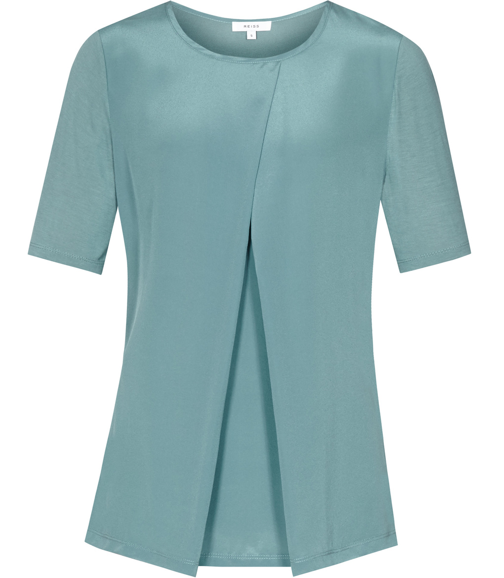Larsen Womens Silk Front T Shirt In Blue - pattern: plain; predominant colour: pale blue; occasions: casual; length: standard; style: top; fibres: silk - 100%; fit: body skimming; neckline: crew; sleeve length: short sleeve; sleeve style: standard; texture group: silky - light; pattern type: fabric; season: a/w 2016; wardrobe: highlight