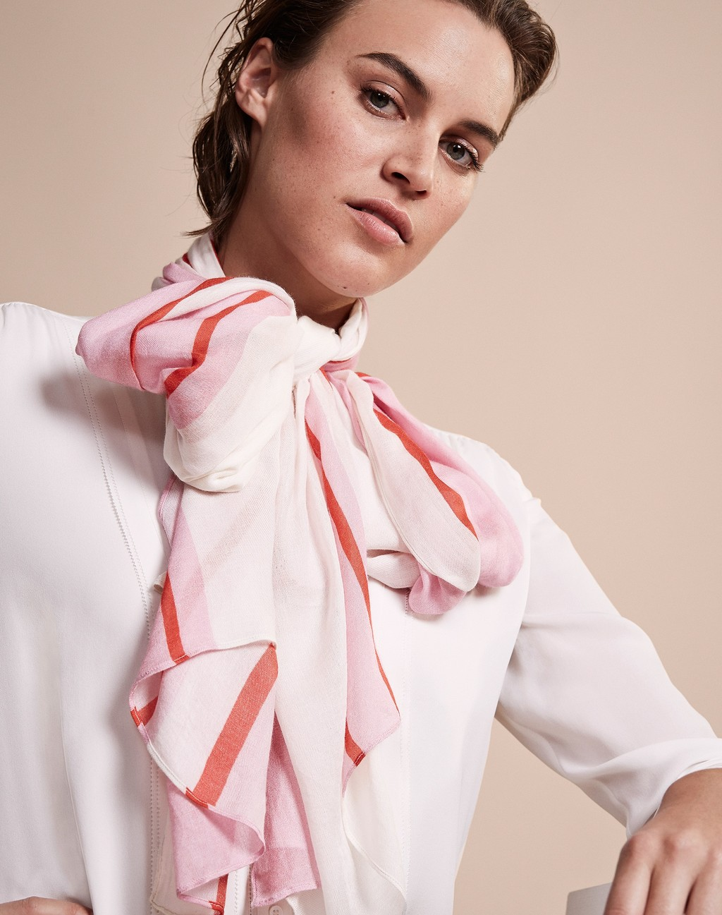 Lightweight Scarf Sugar Pink Stripe - secondary colour: white; predominant colour: blush; occasions: casual, creative work; type of pattern: standard; style: regular; size: standard; material: fabric; pattern: striped; season: a/w 2016; wardrobe: highlight