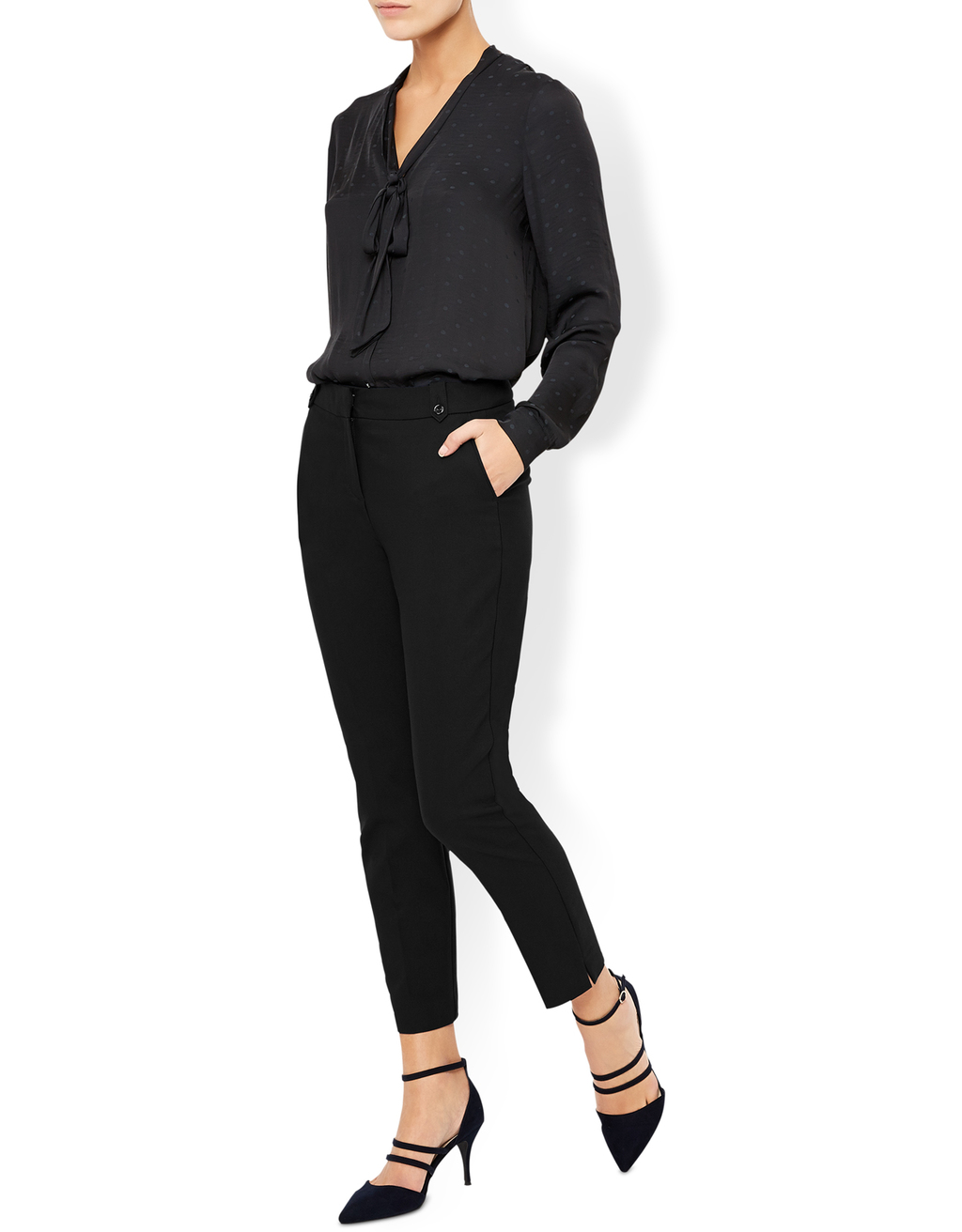 Bonnie Crop Trouser - length: standard; pattern: plain; style: peg leg; waist: high rise; predominant colour: black; occasions: work, creative work; fibres: polyester/polyamide - 100%; fit: tapered; pattern type: fabric; texture group: other - light to midweight; wardrobe: basic; season: a/w 2016