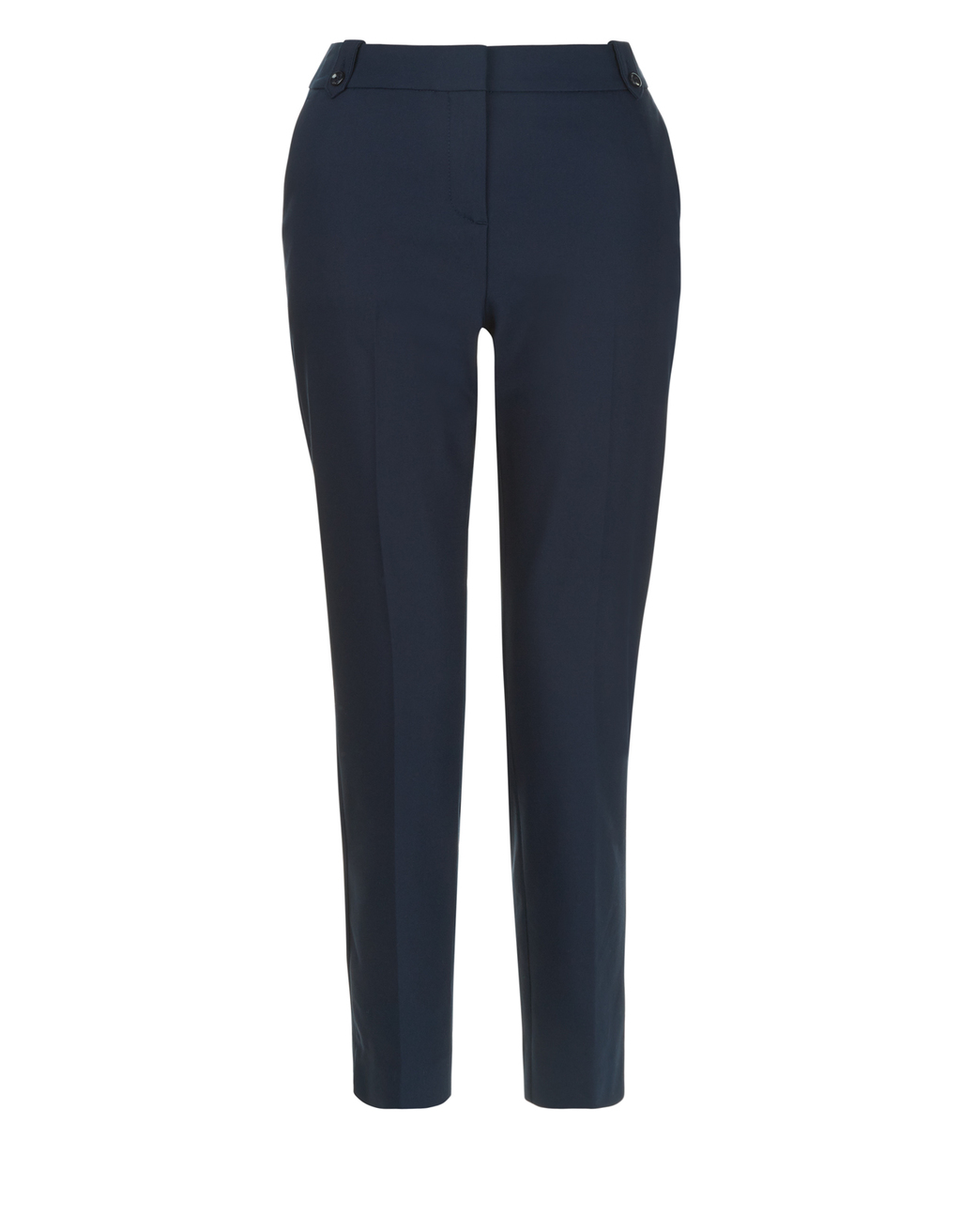 Bonnie Crop Trouser - length: standard; pattern: plain; waist: high rise; predominant colour: navy; occasions: work; fibres: polyester/polyamide - 100%; fit: slim leg; pattern type: fabric; texture group: other - light to midweight; style: standard; wardrobe: basic; season: a/w 2016