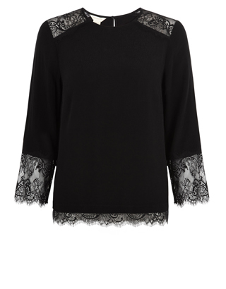 Delilah Lace Blouse - pattern: plain; style: blouse; predominant colour: black; occasions: evening; length: standard; fibres: viscose/rayon - stretch; fit: body skimming; neckline: crew; sleeve length: 3/4 length; sleeve style: standard; pattern type: fabric; texture group: other - light to midweight; embellishment: lace; season: a/w 2016; wardrobe: event