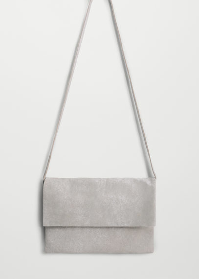 Leather Metallic Bag - predominant colour: light grey; occasions: casual; type of pattern: standard; style: messenger; length: across body/long; size: small; material: leather; pattern: plain; finish: metallic; wardrobe: basic; season: a/w 2016