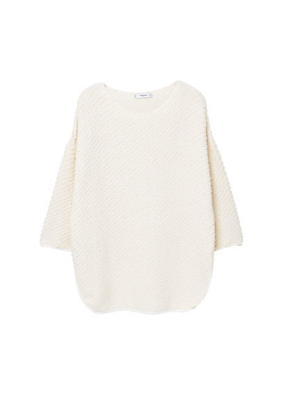 Textured Cotton Sweater - neckline: round neck; pattern: plain; style: standard; predominant colour: white; occasions: casual; length: standard; fibres: cotton - 100%; fit: loose; sleeve length: 3/4 length; sleeve style: standard; texture group: knits/crochet; pattern type: fabric; wardrobe: basic; season: a/w 2016
