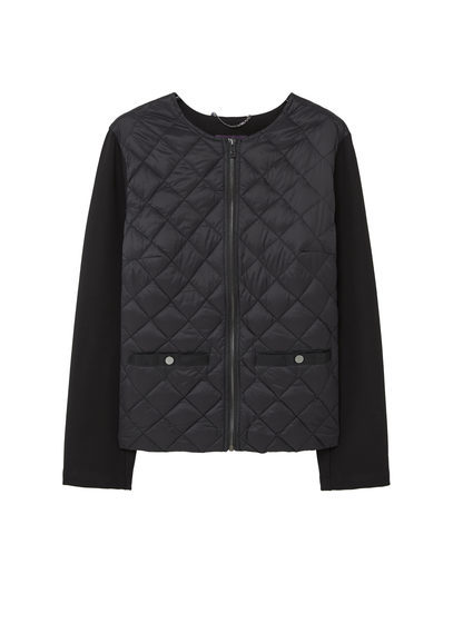 Mixed Quilted Jacket - pattern: plain; collar: round collar/collarless; style: boxy; fit: slim fit; predominant colour: black; occasions: casual; length: standard; sleeve length: long sleeve; sleeve style: standard; texture group: leather; collar break: high; pattern type: fabric; embellishment: quilted; fibres: pvc/polyurethene - mix; season: a/w 2016