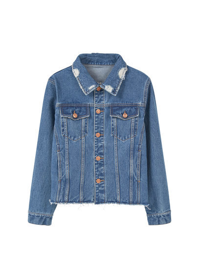 Medium Denim Jacket - pattern: plain; style: denim; fit: slim fit; predominant colour: denim; occasions: casual; length: standard; fibres: cotton - 100%; collar: shirt collar/peter pan/zip with opening; sleeve length: long sleeve; sleeve style: standard; texture group: denim; collar break: high; pattern type: fabric; season: a/w 2016