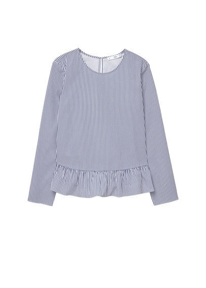 Striped Poplin Blouse - neckline: round neck; pattern: checked/gingham; style: blouse; waist detail: peplum waist detail; predominant colour: denim; occasions: casual, creative work; length: standard; fibres: cotton - 100%; fit: body skimming; sleeve length: long sleeve; sleeve style: standard; pattern type: fabric; pattern size: standard; texture group: other - light to midweight; season: a/w 2016; wardrobe: highlight