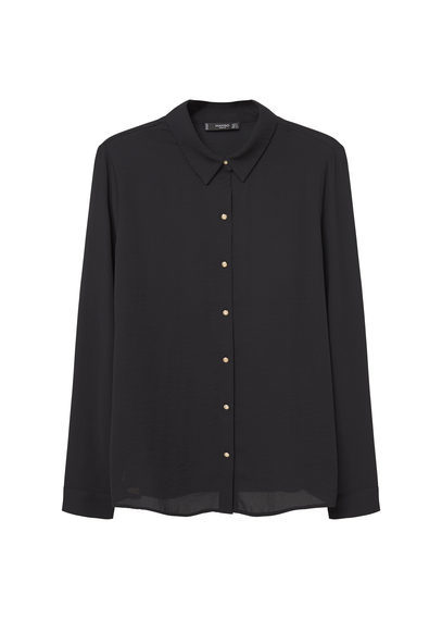 Buttoned Flowy Shirt - neckline: shirt collar/peter pan/zip with opening; pattern: plain; style: shirt; predominant colour: black; occasions: casual; length: standard; fibres: polyester/polyamide - 100%; fit: body skimming; sleeve length: long sleeve; sleeve style: standard; pattern type: fabric; texture group: other - light to midweight; wardrobe: basic; season: a/w 2016