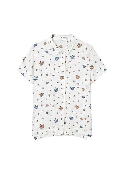 Printed Flowy Shirt - neckline: shirt collar/peter pan/zip with opening; style: shirt; predominant colour: white; secondary colour: pale blue; occasions: casual; length: standard; fibres: viscose/rayon - 100%; fit: body skimming; sleeve length: short sleeve; sleeve style: standard; texture group: cotton feel fabrics; pattern type: fabric; pattern size: standard; pattern: patterned/print; multicoloured: multicoloured; season: a/w 2016; wardrobe: highlight