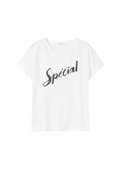 Bead Message T Shirt - style: t-shirt; predominant colour: white; secondary colour: black; occasions: casual; length: standard; fibres: cotton - 100%; fit: loose; neckline: crew; sleeve length: short sleeve; sleeve style: standard; pattern type: fabric; texture group: jersey - stretchy/drapey; pattern: graphic/slogan; multicoloured: multicoloured; season: a/w 2016; wardrobe: highlight