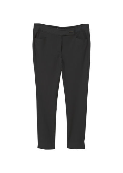 Cotton Suit Trousers - length: standard; pattern: plain; waist: mid/regular rise; predominant colour: black; occasions: work; fibres: cotton - 100%; texture group: cotton feel fabrics; fit: slim leg; pattern type: fabric; style: standard; wardrobe: basic; season: a/w 2016