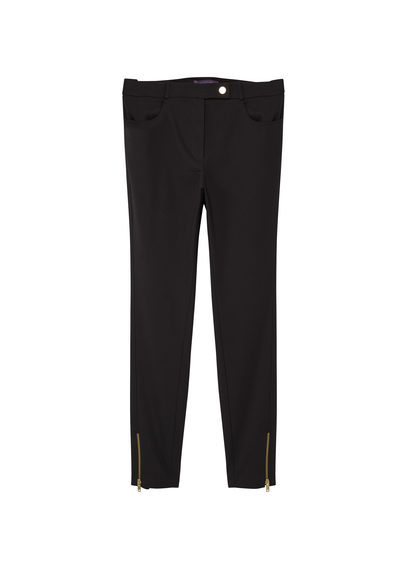 Zip Cotton Trousers - length: standard; pattern: plain; waist: mid/regular rise; predominant colour: black; occasions: casual, work, creative work; fibres: cotton - stretch; texture group: cotton feel fabrics; fit: slim leg; pattern type: fabric; style: standard; season: a/w 2016