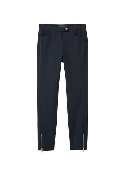 Zip Cotton Trousers - length: standard; pattern: plain; waist: mid/regular rise; predominant colour: black; occasions: casual, creative work; fibres: cotton - stretch; texture group: cotton feel fabrics; fit: slim leg; pattern type: fabric; style: standard; wardrobe: basic; season: a/w 2016
