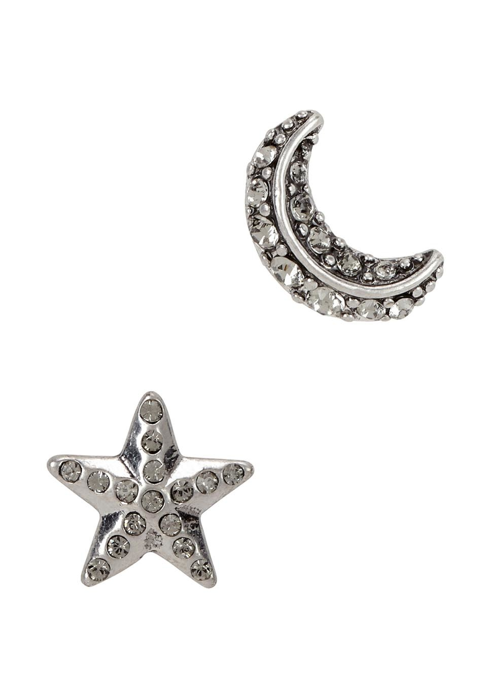 Star And Moon Silver Tone Earrings - predominant colour: silver; occasions: evening; style: stud; length: short; size: small/fine; material: chain/metal; fastening: pierced; finish: metallic; embellishment: crystals/glass; season: a/w 2016; wardrobe: event