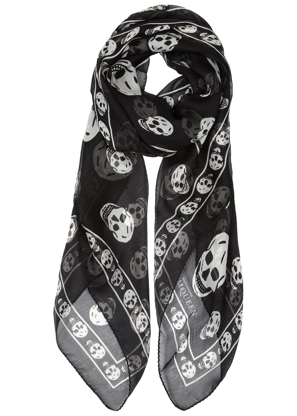 Black Skull Print Silk Chiffon Scarf - secondary colour: white; predominant colour: black; occasions: casual; type of pattern: light; style: regular; size: standard; material: silk; trends: monochrome; pattern: patterned/print; multicoloured: multicoloured; season: a/w 2016; wardrobe: highlight
